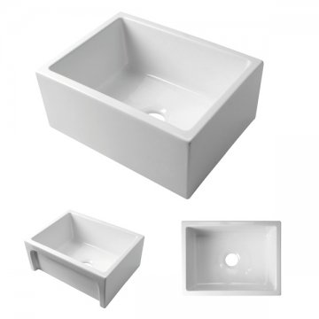 acquello white fireclay sink approx 610 x 460 x 250mm with waste and rack - Kitchen Sinks Nz