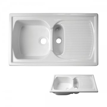 acquello top mounted twin fireclay sink white 860 x 550mm with wastes and a rack for larger sink - Kitchen Sinks Nz