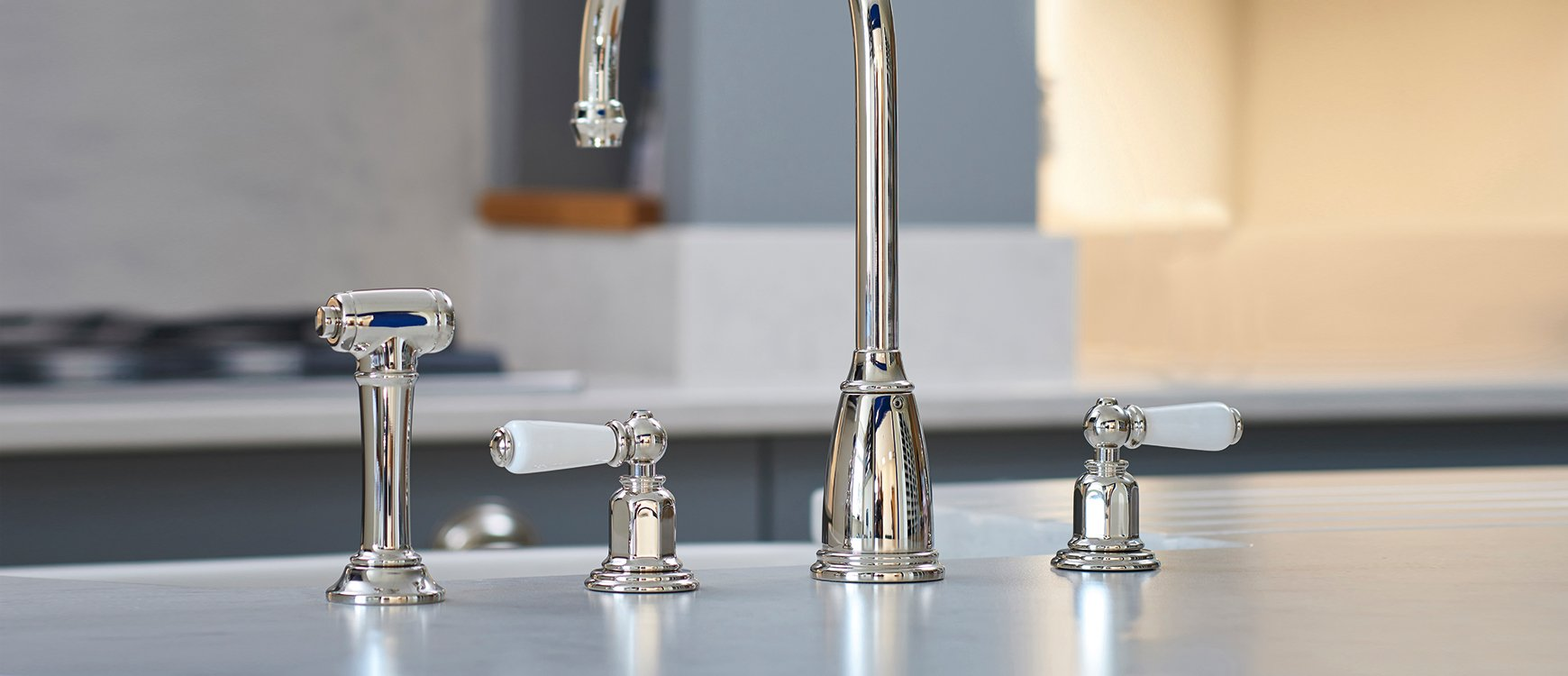 handles faucet journal featured residence athenian four rowe house and faucets s perrin hole nickel rinse mixer award taps in hero winning with lever