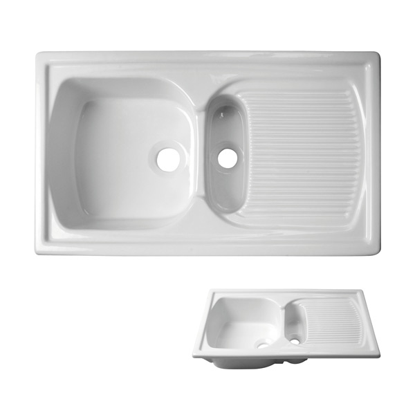Acquello – Top mounted twin, White fireclay sink. 860 x 550mm with waste and rack for large sink