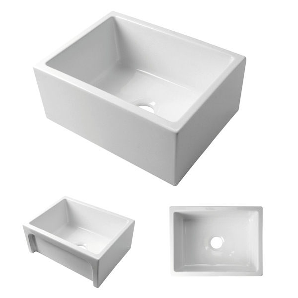 Acquello - White single fireclay sink. 610 x 460 x 250mm with waste and sink protector rack.