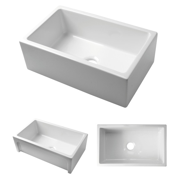 Acquello - White single fireclay sink with 760 x 460 x 250 with waste & sink protector rack